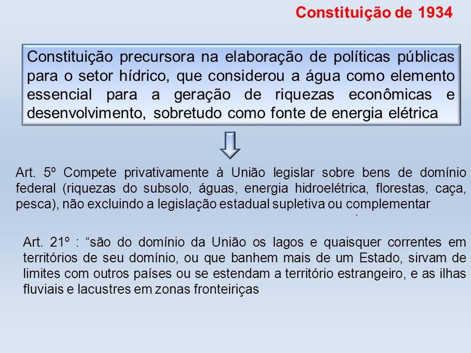 . Art. 5º Compete privativamente à União legislar sobre bens de domínio federal (riquezas do subsolo, águas, energia hidroelétrica, florestas, caça, p