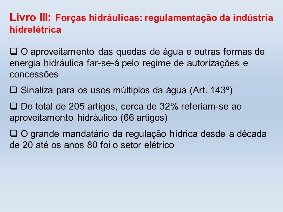 Livro III: Forças hidráulicas: regulamentação da indústria hidrelétrica O aproveitamento das quedas de água e outras formas de energia hidráulica far-