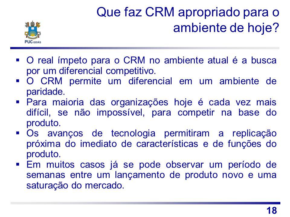 Que faz CRM apropriado para o ambiente de hoje? O real ímpeto para o CRM no ambiente atual é a busca por um diferencial competitivo. O CRM permite um