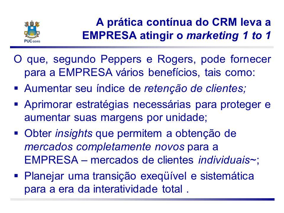 A prática contínua do CRM leva a EMPRESA atingir o marketing 1 to 1 O que, segundo Peppers e Rogers, pode fornecer para a EMPRESA vários benefícios, t