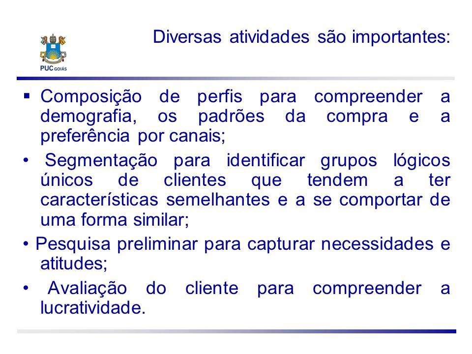 Diversas atividades são importantes: Composição de perfis para compreender a demografia, os padrões da compra e a preferência por canais; Segmentação