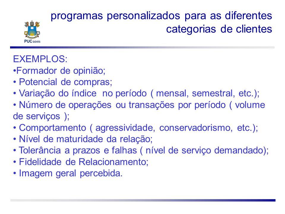 programas personalizados para as diferentes categorias de clientes EXEMPLOS: Formador de opinião; Potencial de compras; Variação do índice no período