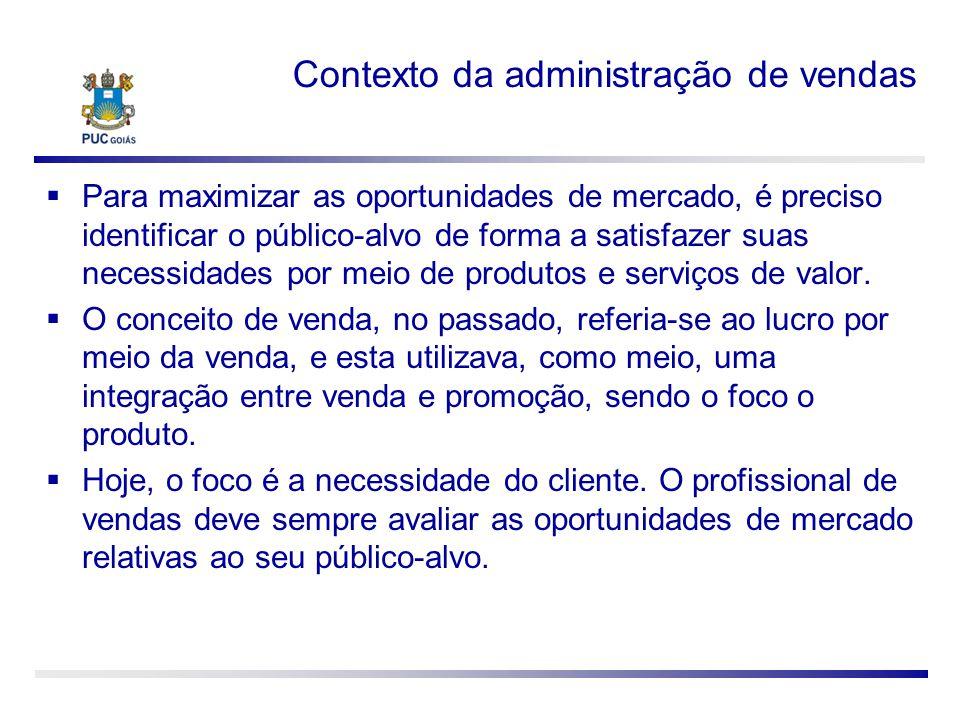 Contexto da administração de vendas Para maximizar as oportunidades de mercado, é preciso identificar o público-alvo de forma a satisfazer suas necess