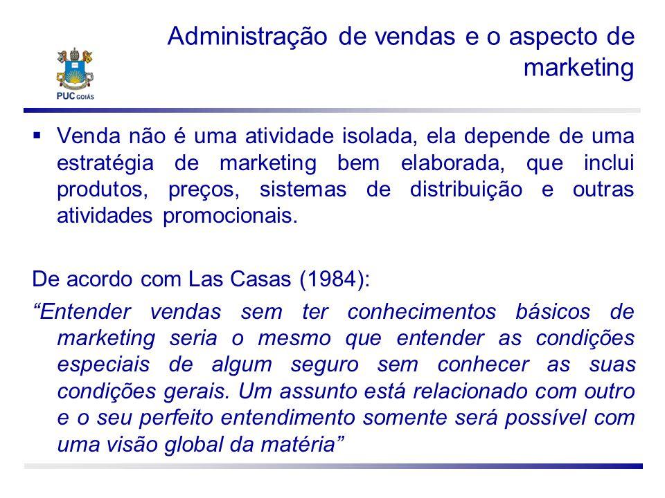 Administração de vendas e o aspecto de marketing Venda não é uma atividade isolada, ela depende de uma estratégia de marketing bem elaborada, que incl