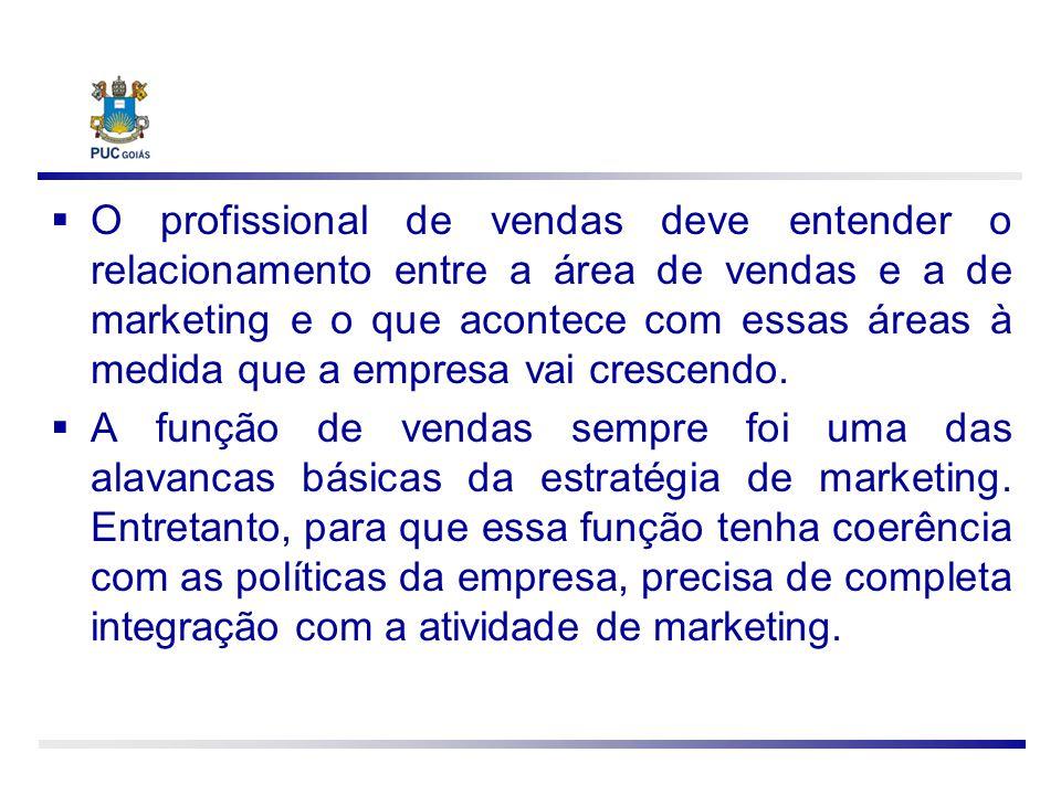 O profissional de vendas deve entender o relacionamento entre a área de vendas e a de marketing e o que acontece com essas áreas à medida que a empres