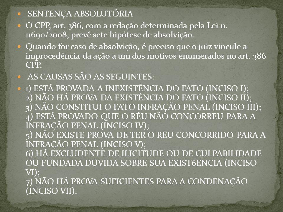 SENTENÇA ABSOLUTÓRIA O CPP, art.386, com a redação determinada pela Lei n.