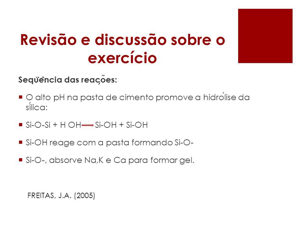 Revisão e discussão sobre o exercício Sequ ̈ e ̂ ncia das reac ̧ o ̃ es: O alto pH na pasta de cimento promove a hidrolise da silica: Si-O-Si + H OH S