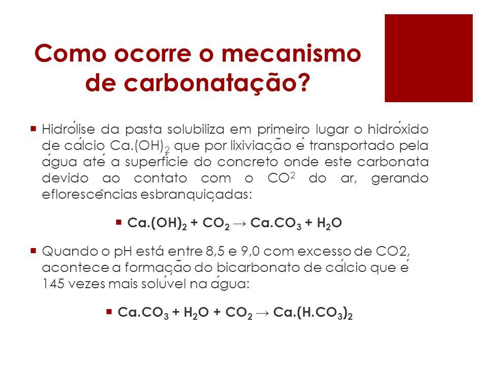 Como ocorre o mecanismo de carbonatação? Hidrolise da pasta solubiliza em primeiro lugar o hidroxido de calcio Ca.(OH) 2 que por lixiviac ̧ a ̃ o e tr