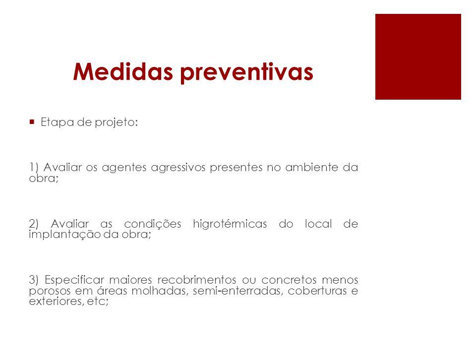Medidas preventivas Etapa de projeto: 1) Avaliar os agentes agressivos presentes no ambiente da obra; 2) Avaliar as condições higrotérmicas do local d