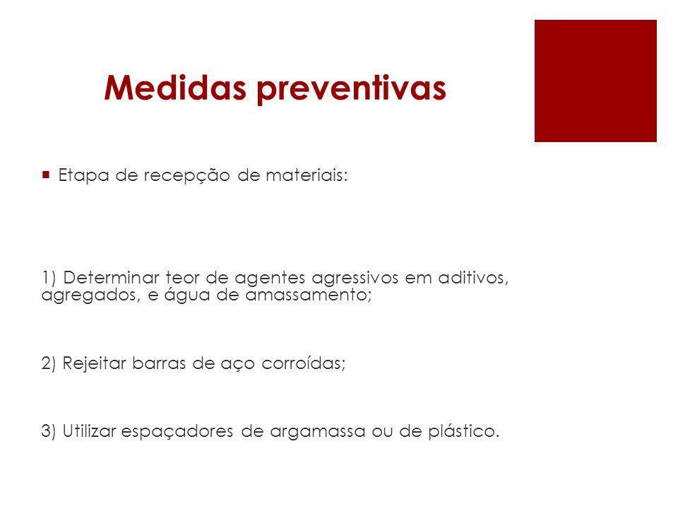 Medidas preventivas Etapa de recepção de materiais: 1) Determinar teor de agentes agressivos em aditivos, agregados, e água de amassamento; 2) Rejeita