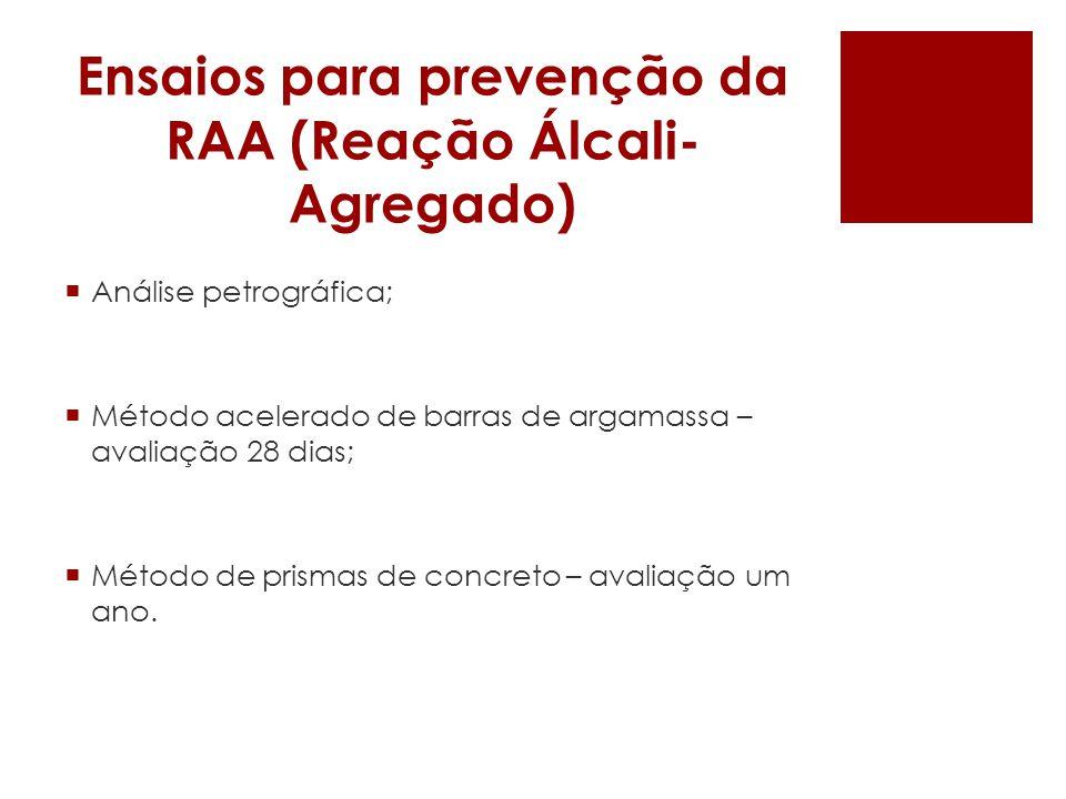 Ensaios para prevenção da RAA (Reação Álcali- Agregado) Análise petrográfica; Método acelerado de barras de argamassa – avaliação 28 dias; Método de p