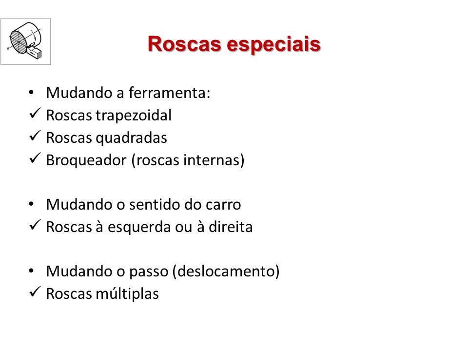 Roscas especiais Mudando a ferramenta: Roscas trapezoidal Roscas quadradas Broqueador (roscas internas) Mudando o sentido do carro Roscas à esquerda o