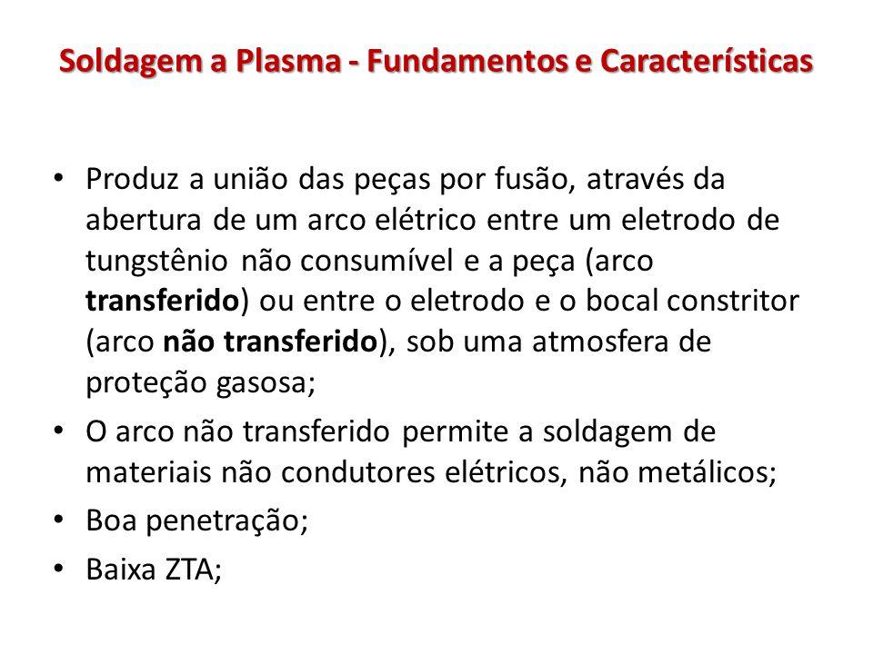 Soldagem a Plasma - Fundamentos e Características Produz a união das peças por fusão, através da abertura de um arco elétrico entre um eletrodo de tungstênio não consumível e a peça (arco transferido) ou entre o eletrodo e o bocal constritor (arco não transferido), sob uma atmosfera de proteção gasosa; O arco não transferido permite a soldagem de materiais não condutores elétricos, não metálicos; Boa penetração; Baixa ZTA;