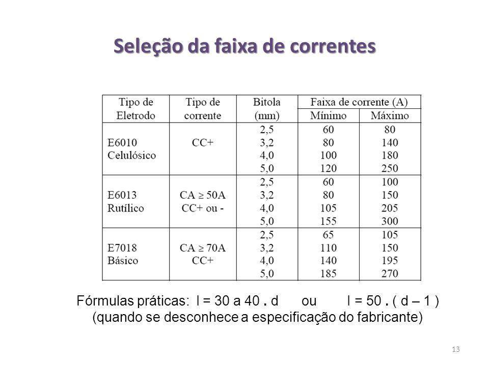 Seleção da faixa de correntes 13 Fórmulas práticas: I = 30 a 40. d ou I = 50. ( d – 1 ) (quando se desconhece a especificação do fabricante)