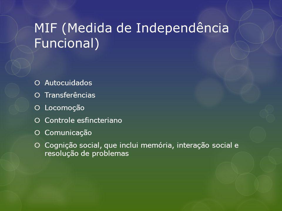 MIF (Medida de Independência Funcional) Autocuidados Transferências Locomoção Controle esfincteriano Comunicação Cognição social, que inclui memória, interação social e resolução de problemas