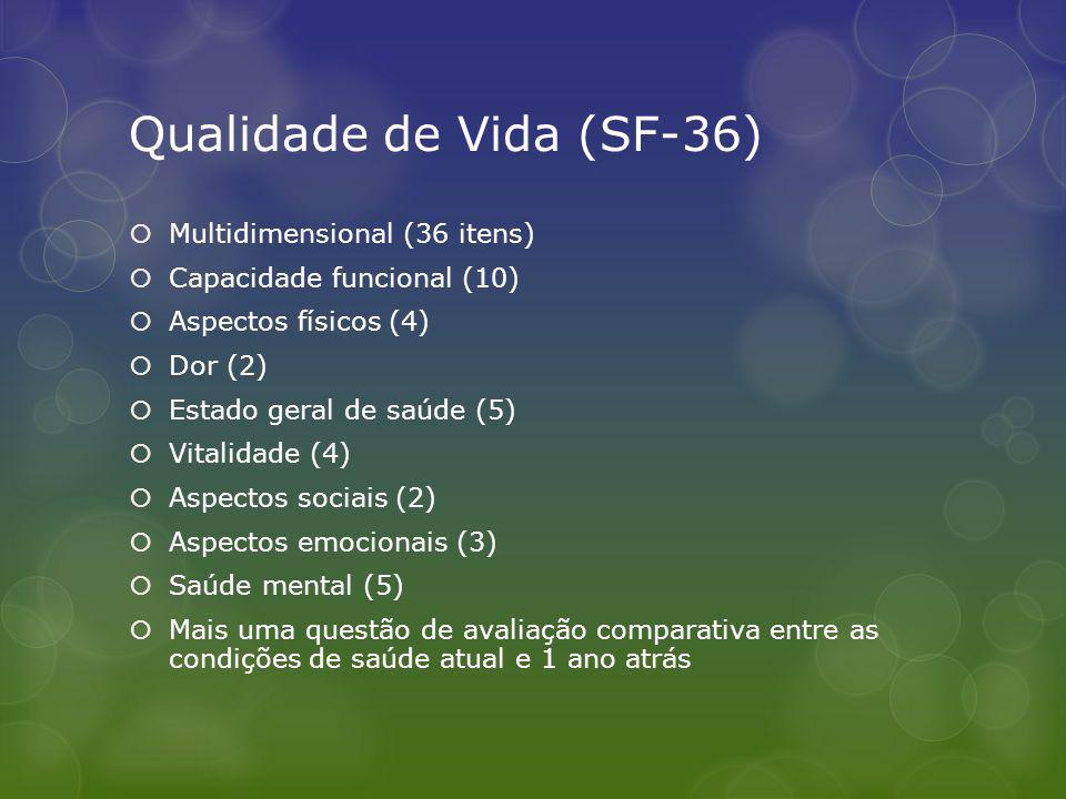 Qualidade de Vida (SF-36) Multidimensional (36 itens) Capacidade funcional (10) Aspectos físicos (4) Dor (2) Estado geral de saúde (5) Vitalidade (4) Aspectos sociais (2) Aspectos emocionais (3) Saúde mental (5) Mais uma questão de avaliação comparativa entre as condições de saúde atual e 1 ano atrás