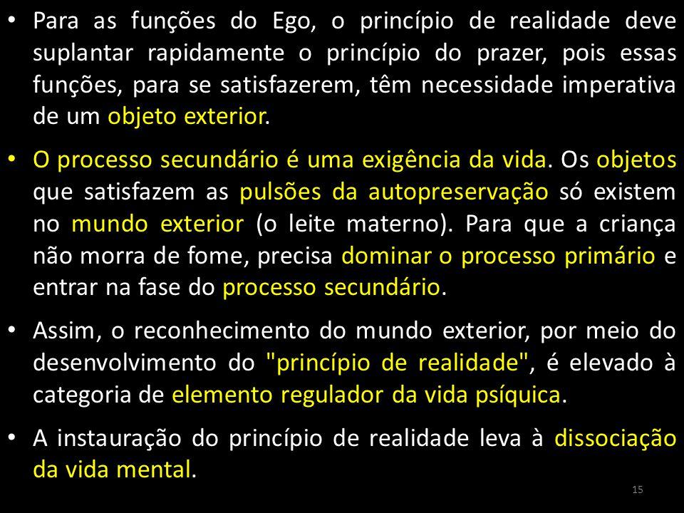 Para as funções do Ego, o princípio de realidade deve suplantar rapidamente o princípio do prazer, pois essas funções, para se satisfazerem, têm neces