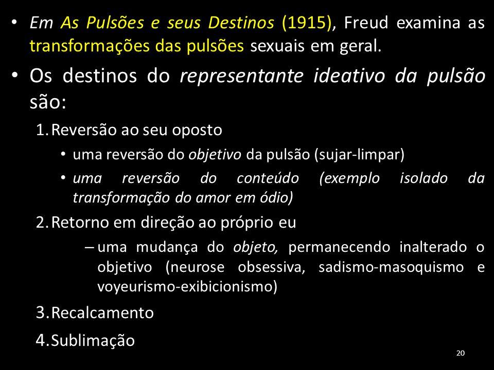 20 Em As Pulsões e seus Destinos (1915), Freud examina as transformações das pulsões sexuais em geral. Os destinos do representante ideativo da pulsão