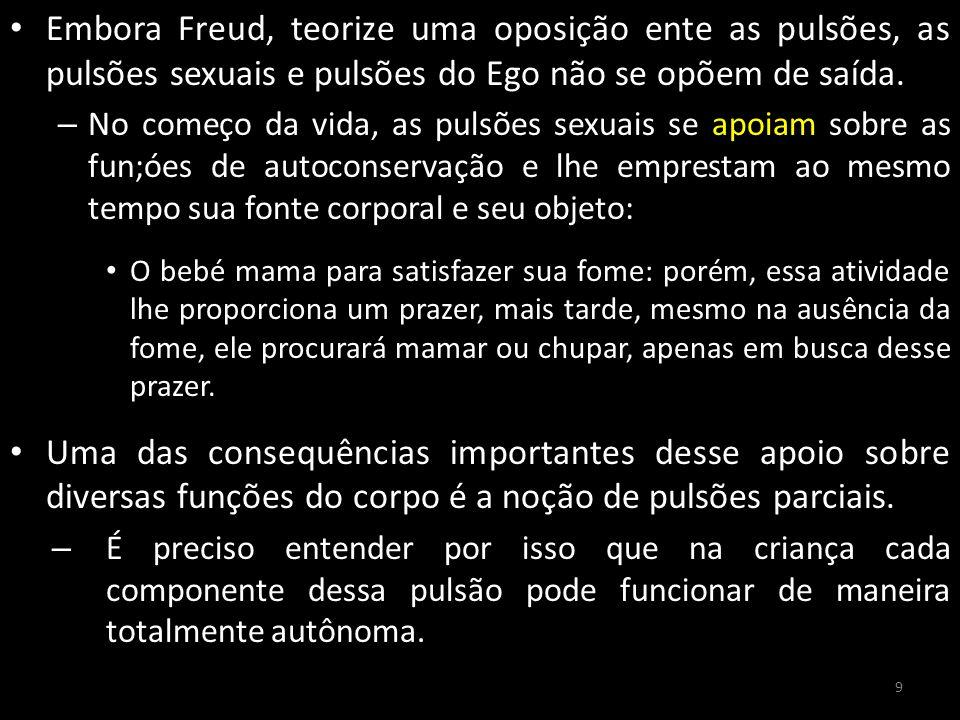 Embora Freud, teorize uma oposição ente as pulsões, as pulsões sexuais e pulsões do Ego não se opõem de saída. – No começo da vida, as pulsões sexuais