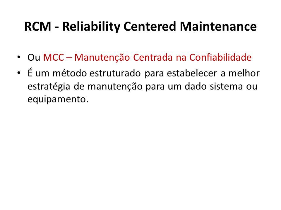RCM - Reliability Centered Maintenance Ou MCC – Manutenção Centrada na Confiabilidade É um método estruturado para estabelecer a melhor estratégia de manutenção para um dado sistema ou equipamento.