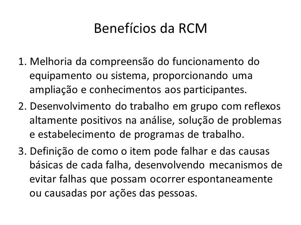 Benefícios da RCM 1. Melhoria da compreensão do funcionamento do equipamento ou sistema, proporcionando uma ampliação e conhecimentos aos participante