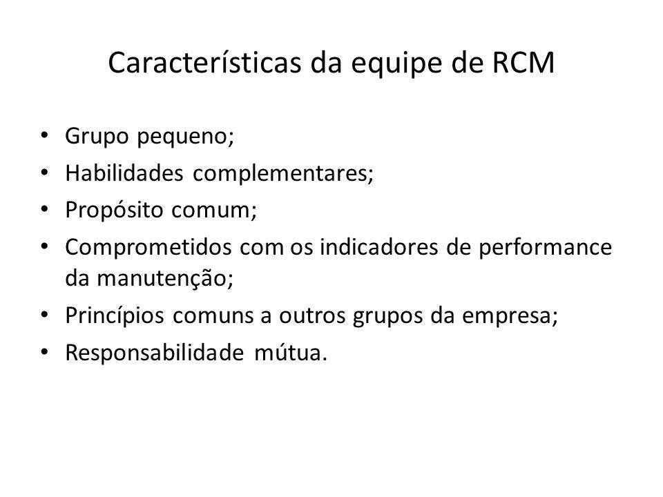 Características da equipe de RCM Grupo pequeno; Habilidades complementares; Propósito comum; Comprometidos com os indicadores de performance da manutenção; Princípios comuns a outros grupos da empresa; Responsabilidade mútua.