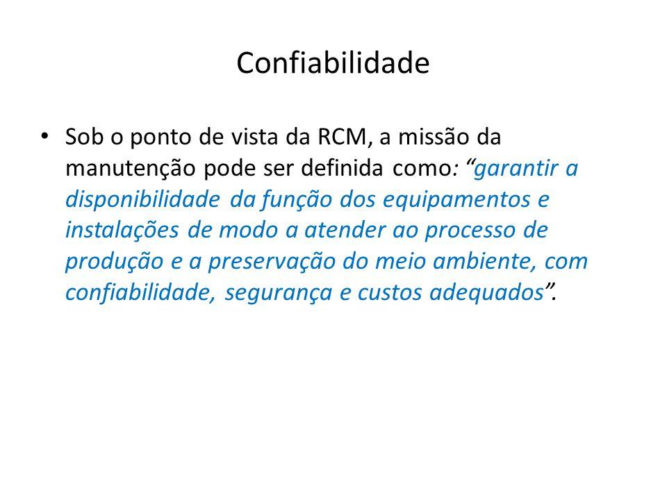 Confiabilidade Sob o ponto de vista da RCM, a missão da manutenção pode ser definida como: garantir a disponibilidade da função dos equipamentos e ins