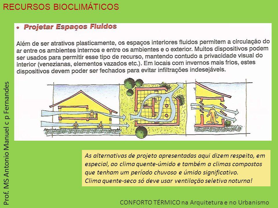 RECURSOS BIOCLIMÁTICOS CONFORTO TÉRMICO na Arquitetura e no Urbanismo Prof. MS Antonio Manuel c p Fernandes As alternativas de projeto apresentadas aq
