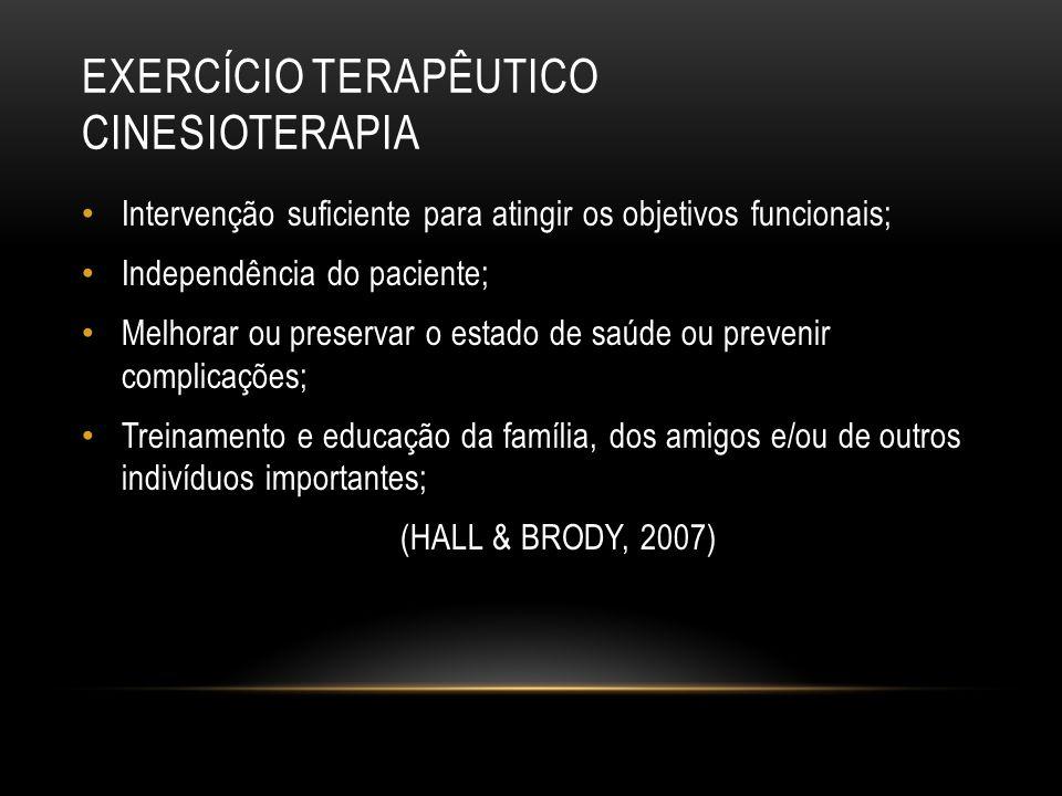 EXERCÍCIO TERAPÊUTICO CINESIOTERAPIA Intervenção suficiente para atingir os objetivos funcionais; Independência do paciente; Melhorar ou preservar o e