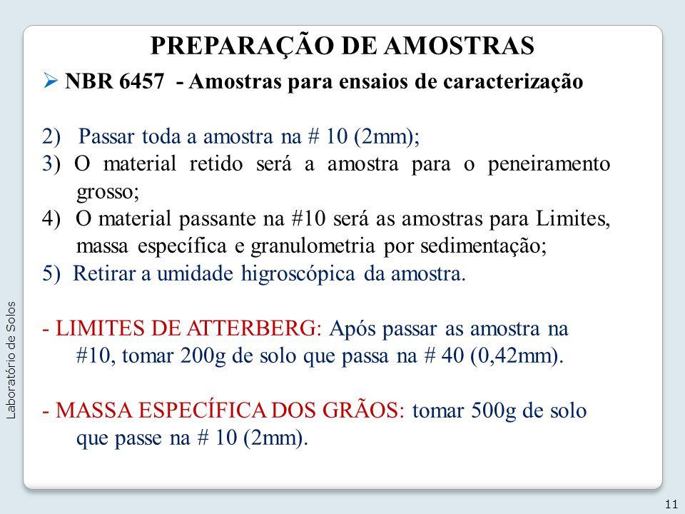 PREPARAÇÃO DE AMOSTRAS NBR 6457 - Amostras para ensaios de caracterização 2) Passar toda a amostra na # 10 (2mm); 3) O material retido será a amostra
