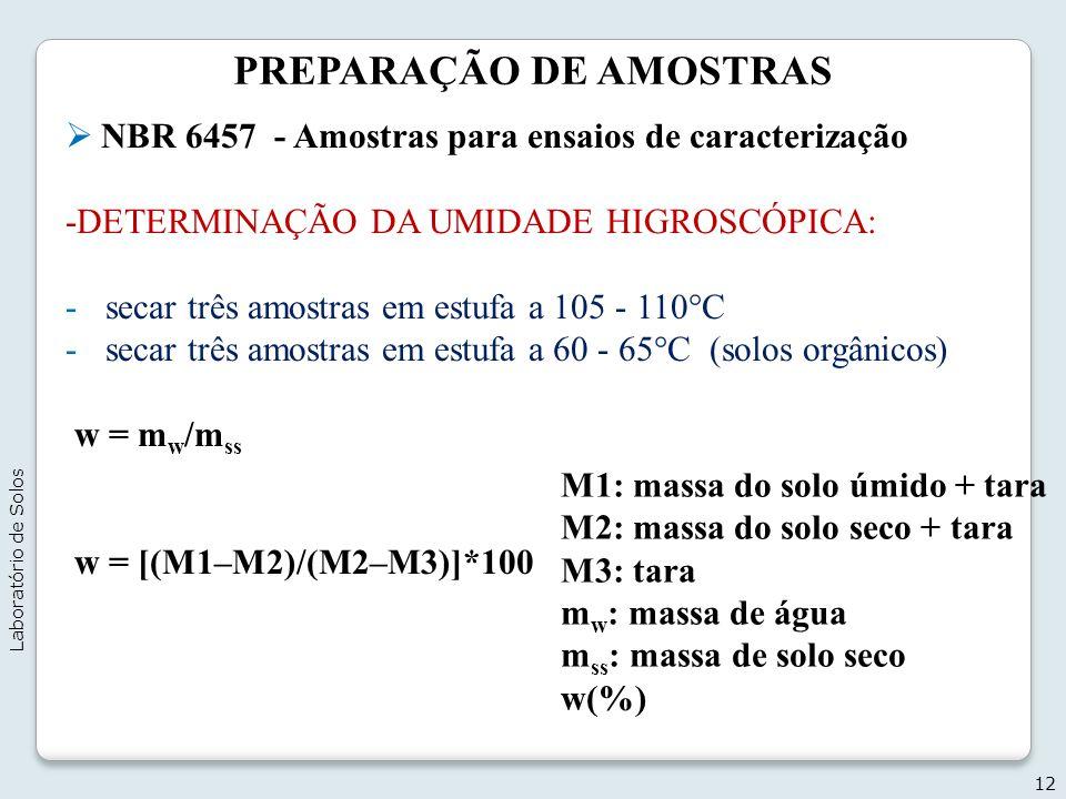 PREPARAÇÃO DE AMOSTRAS NBR 6457 - Amostras para ensaios de caracterização -DETERMINAÇÃO DA UMIDADE HIGROSCÓPICA: -secar três amostras em estufa a 105