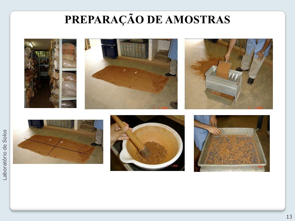 PREPARAÇÃO DE AMOSTRAS 13 Laboratório de Solos