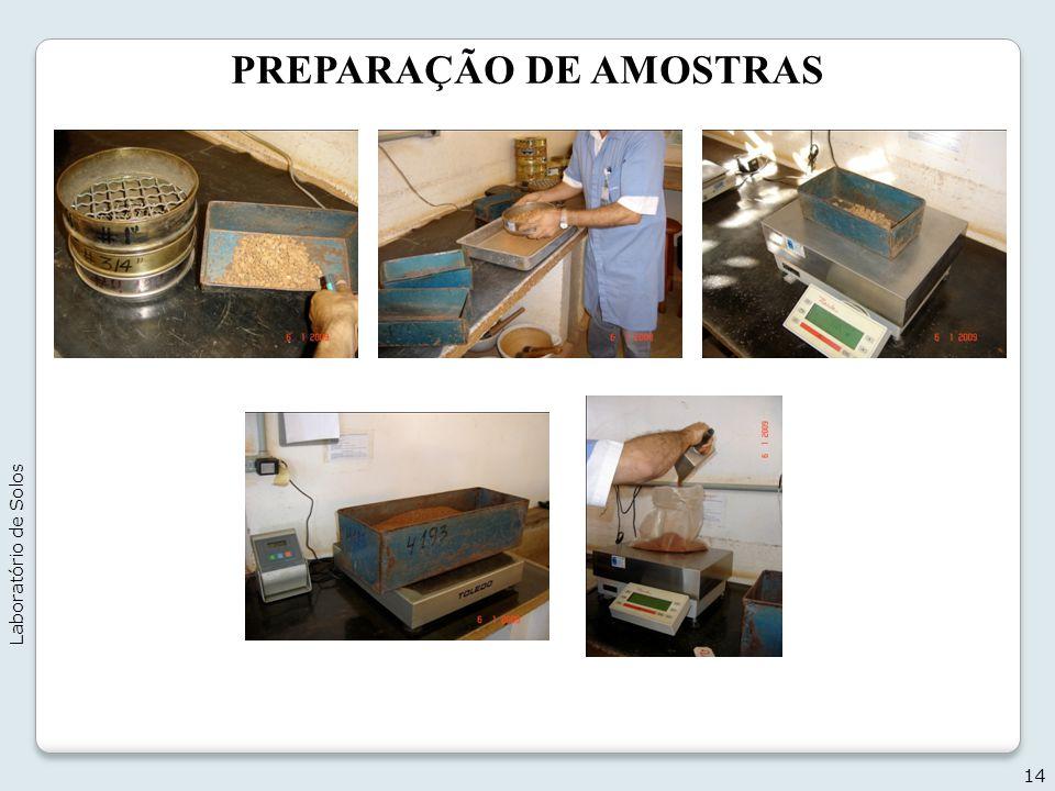 PREPARAÇÃO DE AMOSTRAS 14 Laboratório de Solos