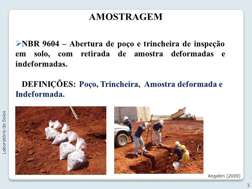 AMOSTRAGEM NBR 9604 – Abertura de poço e trincheira de inspeção em solo, com retirada de amostra deformadas e indeformadas. DEFINIÇÕES: Poço, Trinchei