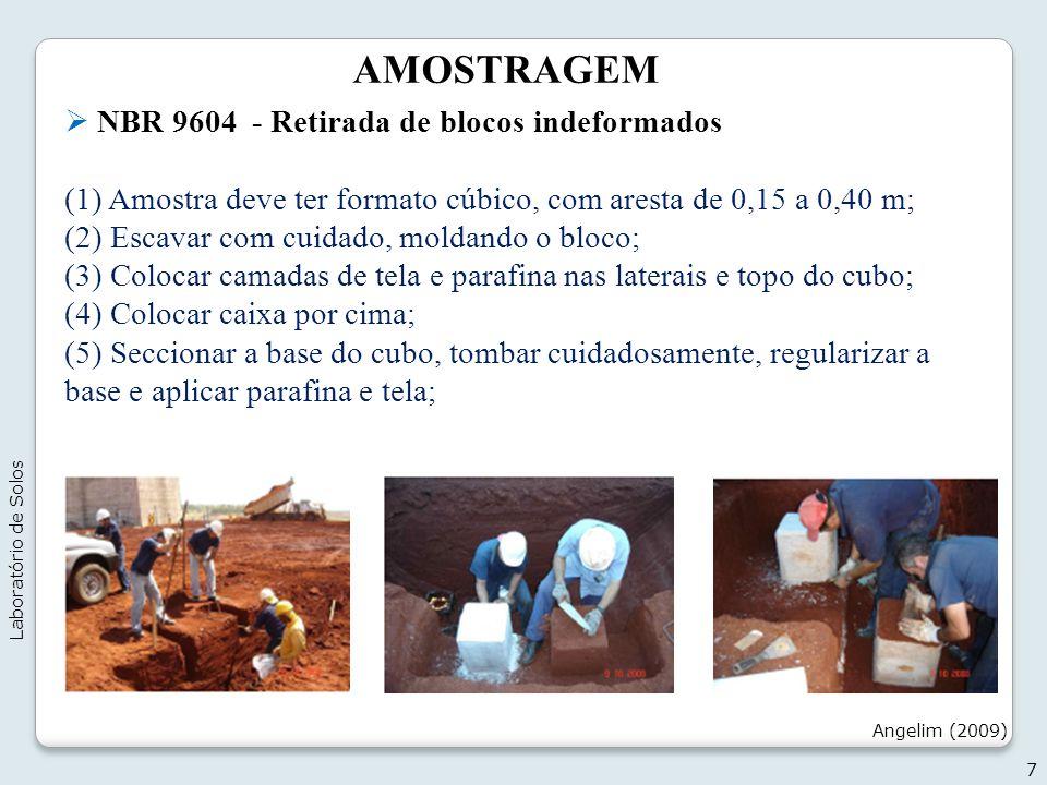 AMOSTRAGEM NBR 9604 - Retirada de blocos indeformados (1) Amostra deve ter formato cúbico, com aresta de 0,15 a 0,40 m; (2) Escavar com cuidado, molda