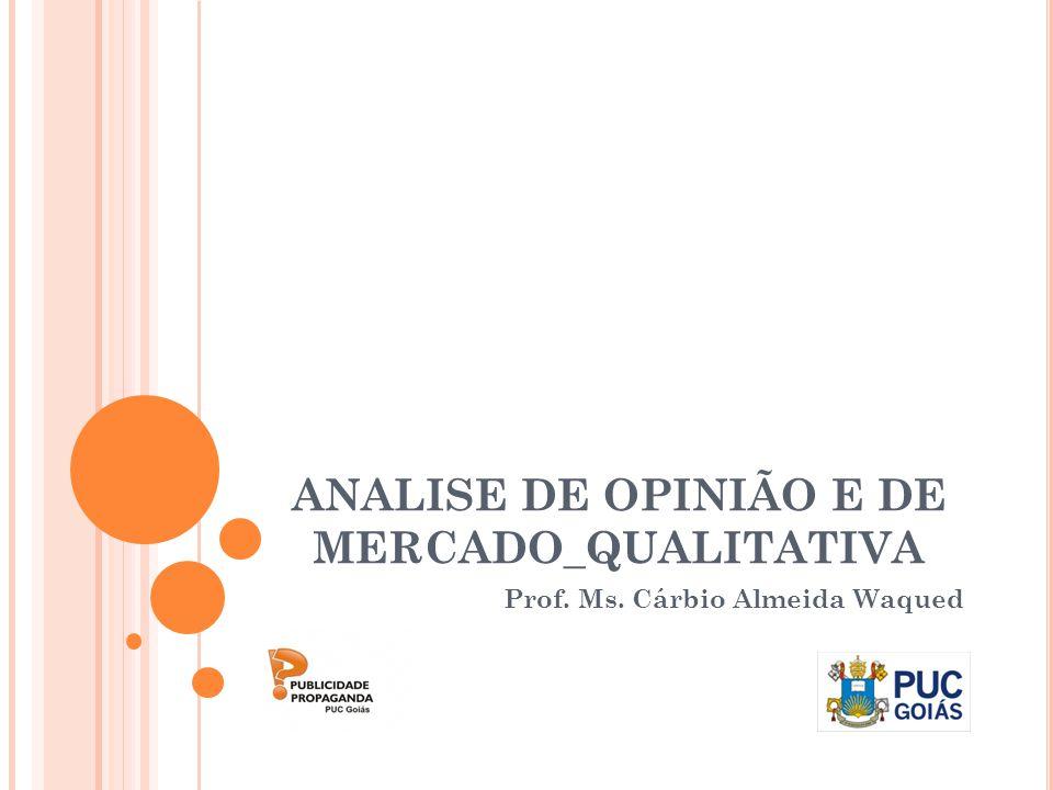 ANALISE DE OPINIÃO E DE MERCADO_QUALITATIVA Prof. Ms. Cárbio Almeida Waqued