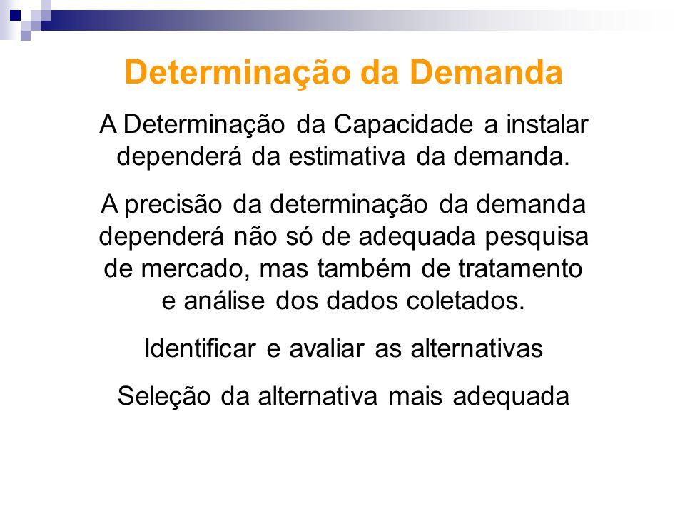 Determinação da Demanda A Determinação da Capacidade a instalar dependerá da estimativa da demanda. A precisão da determinação da demanda dependerá nã