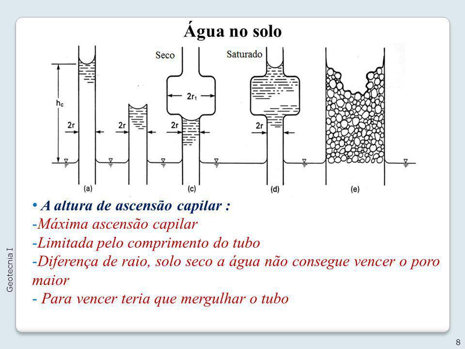 Água no solo 9 Geotecnia I Exemplo 1: Considerando-se o perfil estratificado apresentado a seguir, constituído de areias uniformes de diferentes diâmetros, pede-se determinar a altura de ascensão capilar para os níveis de lençol freático NA 1, NA 2, NA 3 e NA 4, nos alinhamentos A e B.