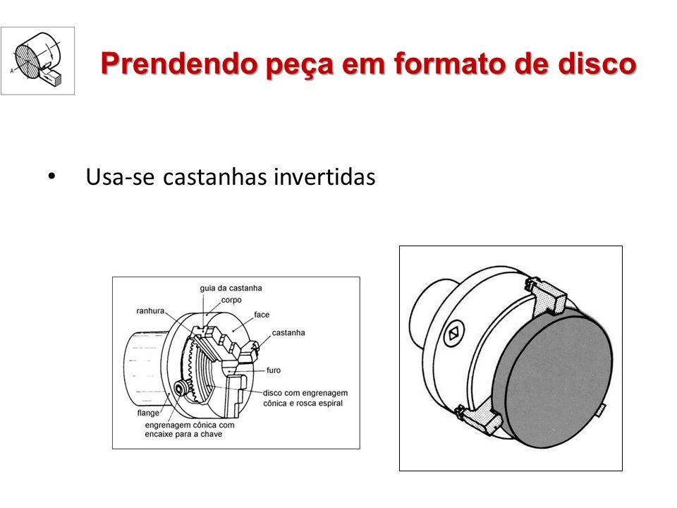 Prendendo peça em formato de disco Usa-se castanhas invertidas