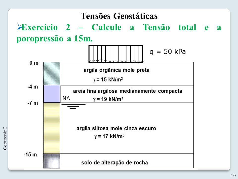 Tensões Geostáticas 10 Geotecnia I q = 50 kPa Exercício 2 – Calcule a Tensão total e a poropressão a 15m. NA