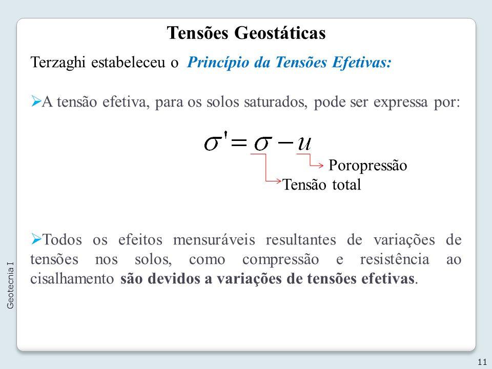 Tensões Geostáticas Terzaghi estabeleceu o Princípio da Tensões Efetivas: A tensão efetiva, para os solos saturados, pode ser expressa por: Todos os e