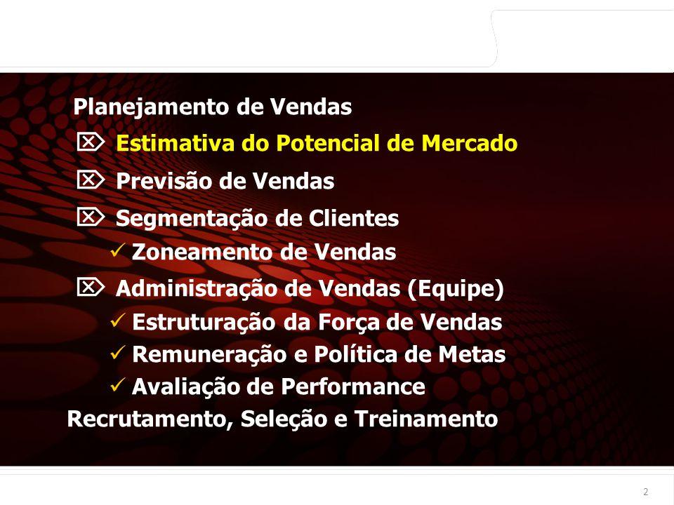 euler@imvnet.com.br | www.slideshare.net/eulernogueira A partir de: É calculado em Exemplo produto X em Porto Alegre Ordem 1 Demanda de mercado Dados setoriais da economia Números absolutos 25.000.000 (unidades) 2 Potencial de mercado (do ramo todo) Dados secundários Números relativos 6% Porto Alegre - parcial - 3 Potencial de vendas da empresa Potencial de mercado do ramo / Demanda de mercado Números absolutos 1.500.000 - Total - (1) x (2) unidades 4 Vendas passadas da empresa Dados estatísticos de vendas Números absolutos -Total - 1.000.000 unidades 5 Participação do mercado Potencial venda empresa / vendas passadas Números relativos 66,7% (4) : (3) 13 Exemplo do uso do Potencial de Mercado >>> Estimativa de Potencial de Mercado