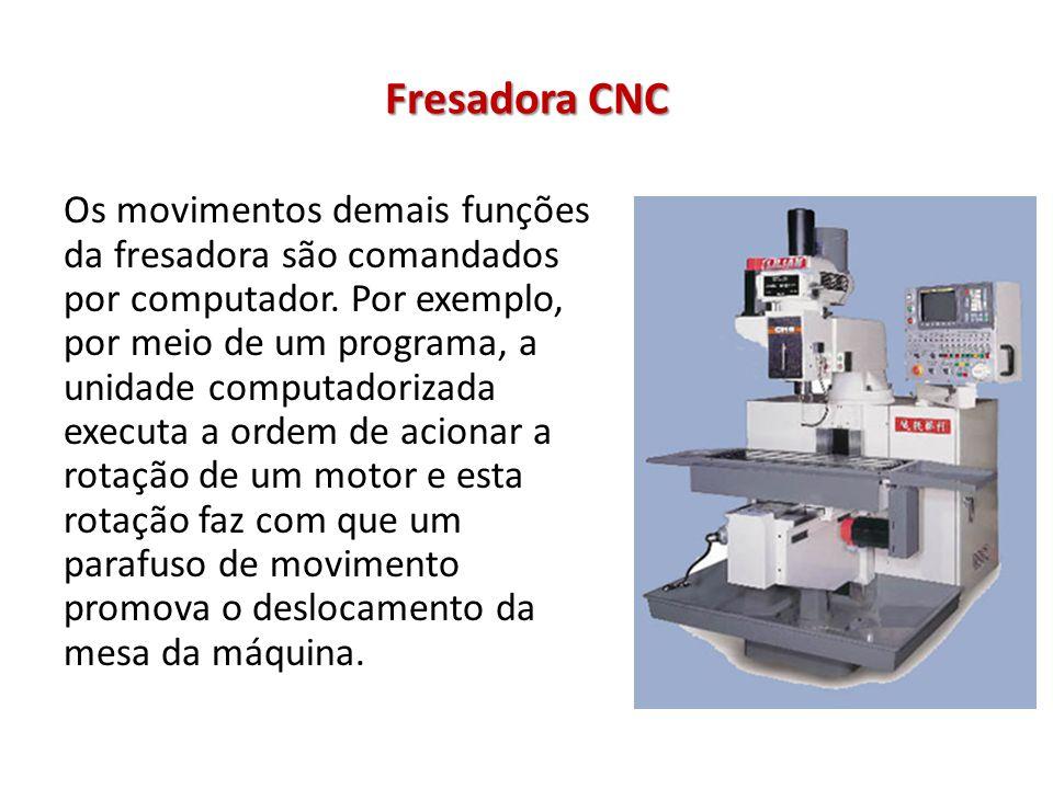 Fresadora CNC Os movimentos demais funções da fresadora são comandados por computador. Por exemplo, por meio de um programa, a unidade computadorizada