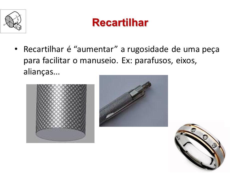 Recartilhas Recartilha é um tipo de ferramenta de corte usada para obter superfícies recartilhadas em torneamento Roletes de aço temperado estremanente duros Dentes + pressão = Recarilhado