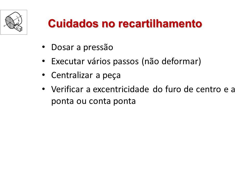 Escolha do passo Escolha do passo do recartilhado: Tipo de material Diâmetro do recartilhado Largura do recartilhado Material da peça Tipo de recartilhado