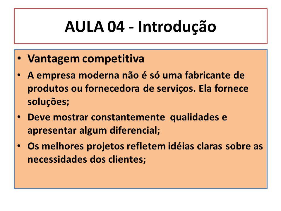 AULA 04 - Introdução Vantagem competitiva A empresa moderna não é só uma fabricante de produtos ou fornecedora de serviços. Ela fornece soluções; Deve