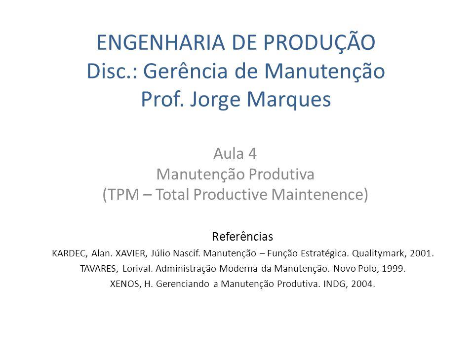 ENGENHARIA DE PRODUÇÃO Disc.: Gerência de Manutenção Prof. Jorge Marques Aula 4 Manutenção Produtiva (TPM – Total Productive Maintenence) Referências
