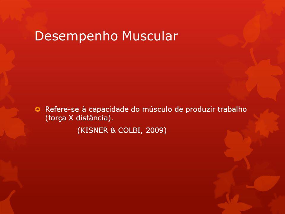 Desempenho Muscular Refere-se à capacidade do músculo de produzir trabalho (força X distância). (KISNER & COLBI, 2009)
