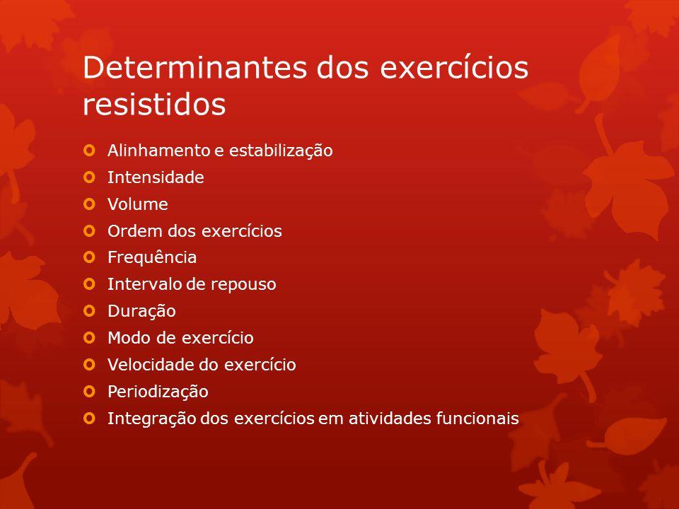 Determinantes dos exercícios resistidos Alinhamento e estabilização Intensidade Volume Ordem dos exercícios Frequência Intervalo de repouso Duração Mo