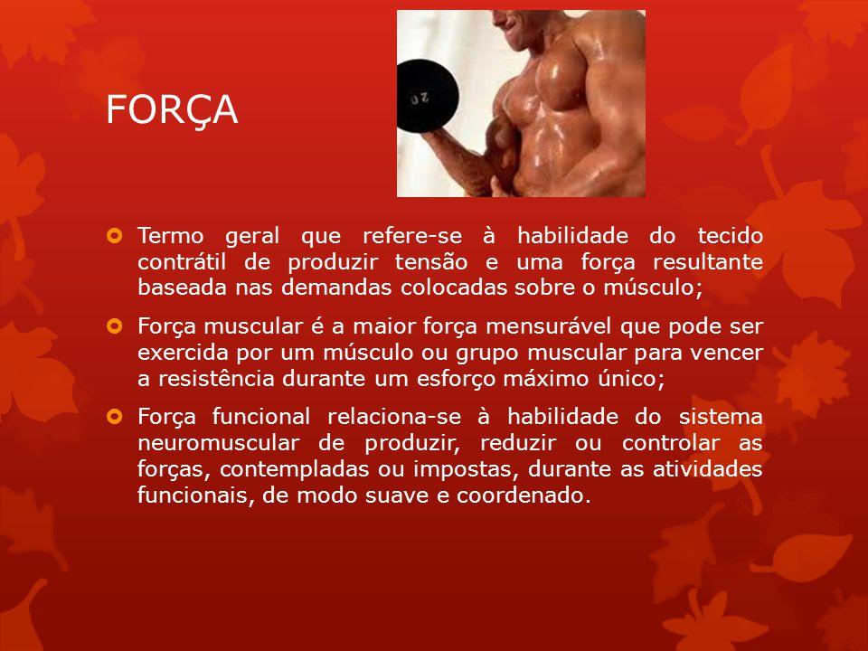 FORÇA Termo geral que refere-se à habilidade do tecido contrátil de produzir tensão e uma força resultante baseada nas demandas colocadas sobre o músc